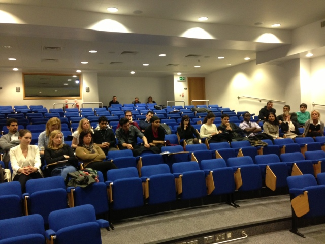Some of London neurosurgery trainees at lecture theatre of 33 Queen Square.