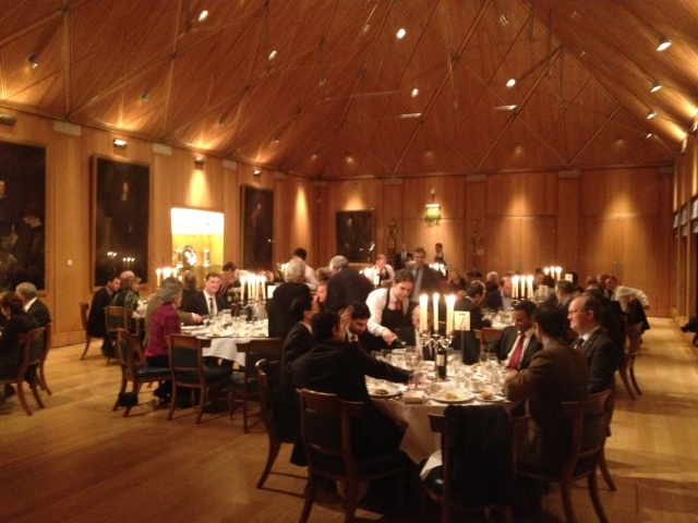 The dining Hall of haberdashers, lots of space and impeccable service. If you go for the vegetarian option you better eat at home first!